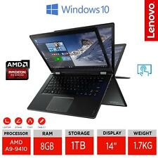 "LENOVO YOGA 510 14"" 2 in 1 IPS Touch Laptop AMD A9-9410 Ram 8GB/1TB HDD W10 UK"