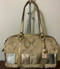 COACH PATCHWORK Leather Brown Carry-all Tote Shoulder Leather Purse Bag F19560