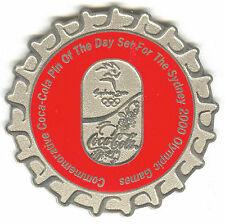 2000 SYDNEY OLYMPIC COCA COLA PIN OF THE DAY SILVER PIN SET BOTTLE CAP