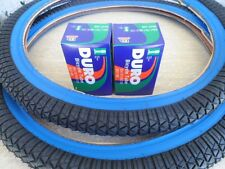 """20 x 1.95 BMX Bike Tires for Street Road Slick Includes Tubes NEW Blue Wall 20"""""""