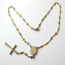 MEN'S WOMEN'S ROSARY NECKLACE CRUCIFIX STAINLESS STEEL AND GOLD 19.68 IN. 154 N