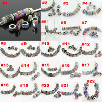 Vintage Silver Charms Multicolor Czech Rhinestone Crystal Rondelle Spacer Beads