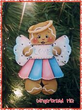 HP Gingerbread, Love Angel, Wooden Christmas  Ornament,  Hand Painted, Gift Tag