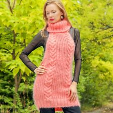 Pink mohair dress sexy open back sweater tunic hand knitted top by SuperTanya