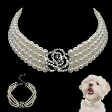Dog Necklace 4 Rows Jewelry Pearl Collar & Rhinestone Flower Pet Party Accessory
