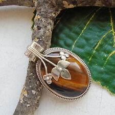 Tigerauge, gold braun, Blume, Blüten, Amulett, Anhänger, 925 Sterling Silber neu