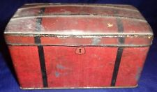 ML303 Antique Vtg Red Hinged Lid Steamer Trunk Tin Marked: RD. 416389