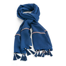 Womens Navy Blue Pink Tassel Scarf Boho Tribal Pattern Embroidered Pashmina Wrap