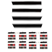 1969~72 Chevy Pickup Truck LONG Bed Black Molding 4PCS Set Lower+Rear+Right+Left