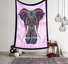 Indian Elephant Mandala Twin Wall Hanging Tapestry Cotton Bedspread Beach Throw
