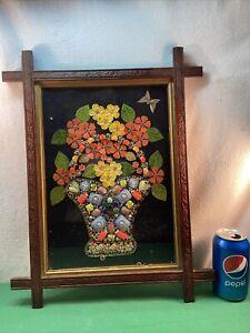 Vtg 40-50's Rhinestone Jewelry Shabby FLOWER BASKET Cottage Black Forest Frame