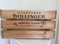 Large Wooden Bollinger Champagne Wine Crate Box Storage Shabby Chic Retro
