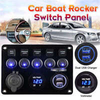 Boat Car Dashboard Rocker Switch Blue LED 12V 24V ON-OFF Work Light Switch Panel