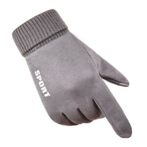Winter Warm Suede Gloves Men Windproof Thermal Soft Touch Screen Non-slip Mitten