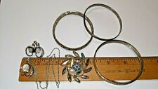 STERLING SILVER LOT 29.2 GRAMS TAXCO BROOCH PIN, BANGLES, CAMEO SORRENTO SET