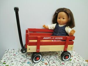 Adorable Vinyl & Cloth Doll by Corolle in her Wood Radio Flyer Wagon!