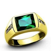 Mens Solid 14K Yellow Fine Gold Ring with Green Emerald and 8 Diamonds all sizes