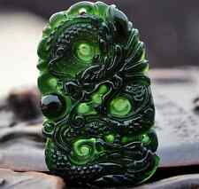 Black Greenstone Jade Stein Drache Anhänger Unisex runde Kontur ca. 24 Gramm Neu