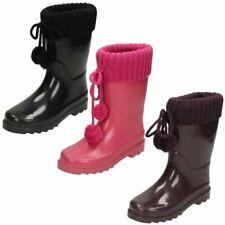 Girls Spot On Knitted Cuff Wellington Boots