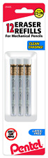 Pentel Refill Eraser For Mechanical Pencils 3 Tubes Per Pack 4 Erasers Per Tube