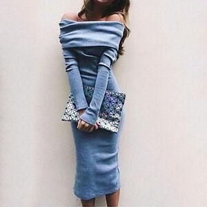 Vintage Classy Classic Pencil Dress Party Bodycon Sabrina Jumper Midi Dress