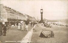 Postcard Dorset Weymouth Jubilee Clock & crowd unposted