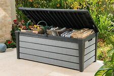 Keter Plastic Garden Storage Box Brushwood XL Piston Lid Waterproof Free Postage