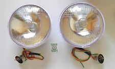 ONE PAIR OF LUCAS 700 REPRO' HEADLIGHT & BULB HOLDER. FOR VINTAGE BIKES AND CARS