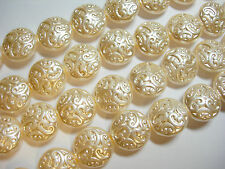 10 Lovely Czech Glass Button Beads 14mm Champagne Pearl
