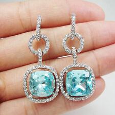 Beautiful Bride Wedding Buckle Square Earrings Pierced Dangle Lake Blue Crystal