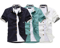 New Mens Summer Fashion Casual Dress Slim Fit Short Sleeves Shirts