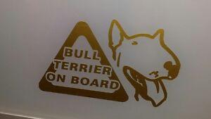 Bull Terrier on Board. car,lorry,dog carrier,