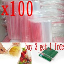 100x Small Zip Lock Plastic Bags Reclosable Resealable Zipper Clear 4X6cm Thick