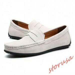Mens Suede Slip On Loafers Casual Driving Shoes Moccasin-gommino Shoes