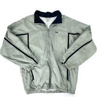 Reebok Mens Large Gray Nylon Windbreaker Jacket Polyester Lined Full-Zip