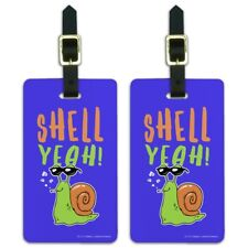 Shell Yeah Hell Yes Snail Funny Humor Luggage ID Tags Carry-On Cards - Set of 2