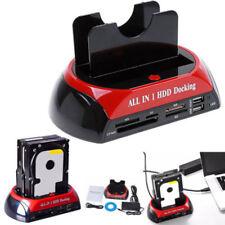 Dual USB3.0 to IDE SATA Clone Festplatte Karte Lesegerät HDD Docking Station HOT