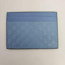 Gucci Micro Guccissima Logo Leather Card Holder Wallet | Baby Blue Mineral | New