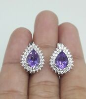 BEAUTOUS NATURAL AMETHYST WHITE CZ -STERLING 925 SILVER EARRING