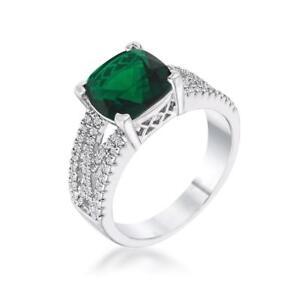 3 CW Cushion Cut Emerald Green Clear Birthstone CZ Bridal Engagement Ring Size 5