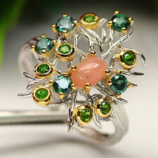 NATURAL PINK OPAL, MYSTIC TOPAZ & CHROME DIOPSIDE RING 925 SILVER