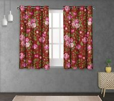 S4sassy Leaves & Begonia Double Panel Window Treatment Curtain -FL-1N