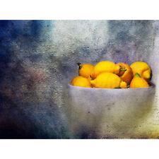 Composition Bowl Fruit Lemons Citrus Yellow Food Bitter Art Canvas Print