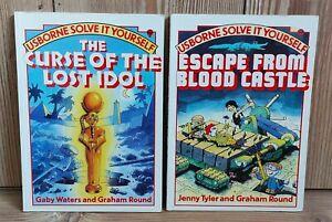 2 Vintage Usborne Solve It Yourself Books Lost Idol & Blood Castle