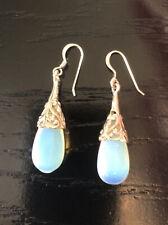 Hallmarked 925 Solid Sterling Silver Opal Glass Drop Earrings