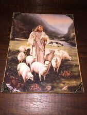 "Vintage Jesus Christ Picture shepherd sheep lamb catholic K.rizo  Decoupage 10"""