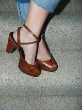 Miu Miu Brown Aligator Peep Toe Ankle Strap Platform Chucky Heel Shoes Size 7