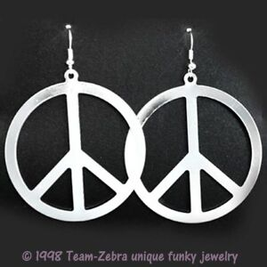 Big Funky Vintage PEACE SIGN EARRINGS Retro Hippy Costume Jewelry - SILVER Metal