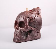 4x4 Two-Headed Purple Skull Skeleton Paraffin Candle-Halloween Goth Decoration