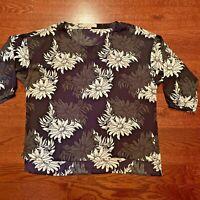 Ann Taylor Loft Shirt Black Purple Floral Top Blouse Women's Size Medium